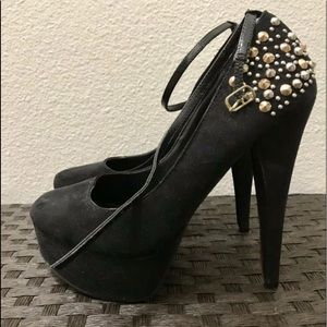 Black suede gold and silver studded heels 7 1/2